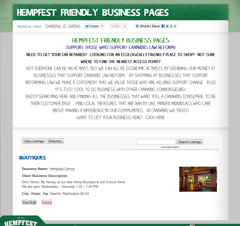 Hempfest® Friendly Business Pages, Non Access Point