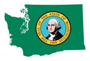 State of Washington flag map
